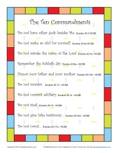 Ten Commandments for Kids Poster
