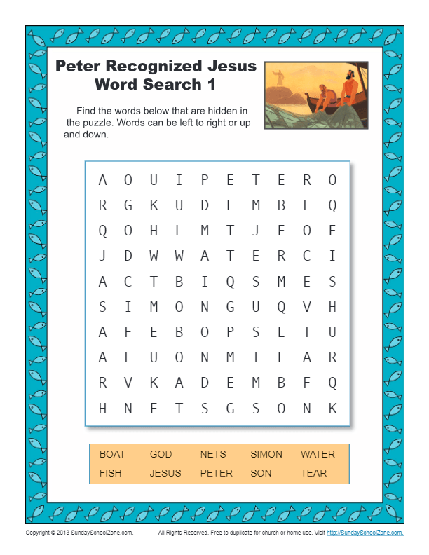 Peter Recognized Jesus Word Search 1 Children S Bible
