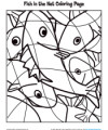 Children's Coloring Bible Activity - Fish in the Net