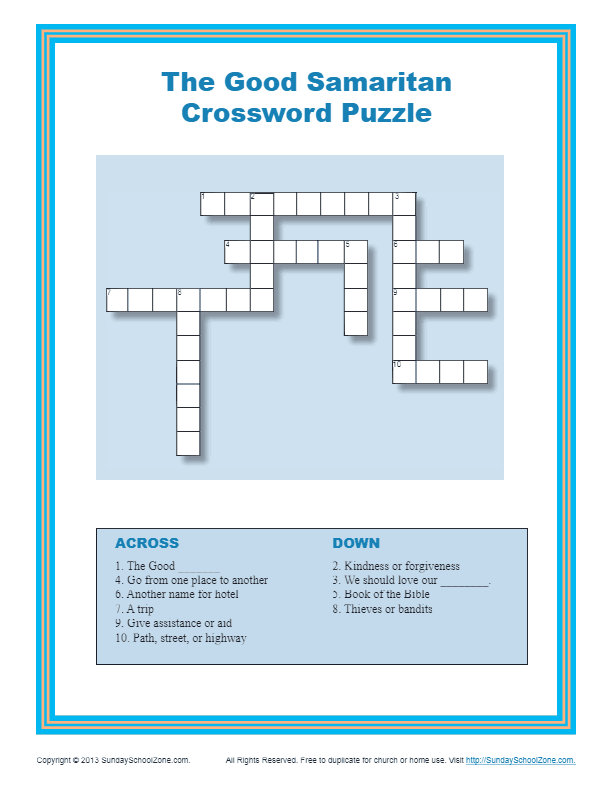 The Good Samaritan Crossword Puzzle