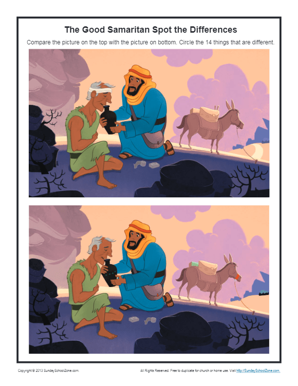 The Good Samaritan Spot The Difference Bible Activities