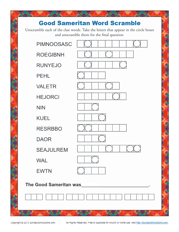 The Good Samaritan Word Scramble Bible Activities For Kids