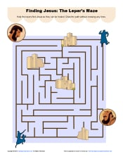 Jesus Lepers Maze on kindergarten mazes