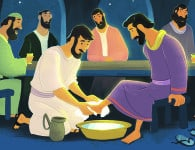 Jesus Washed His Disciples' Feet | Bible Story Teaching Picture