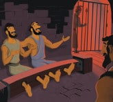 Paul and Silas Praised God in Jail—Bible Story Teaching Picture