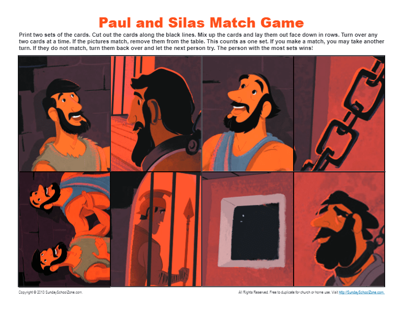 Paul and Silas Bible Match Game