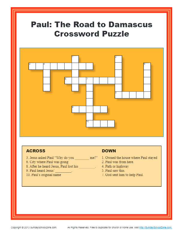 Paul The Road To Dasmascus Crossword Puzzle For Kids