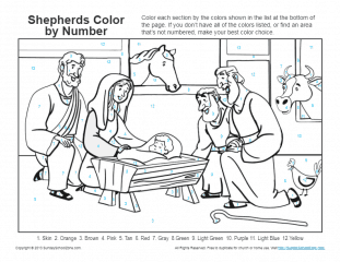 Bible Coloring Pages for Kids |Shepherds and Baby Jesus