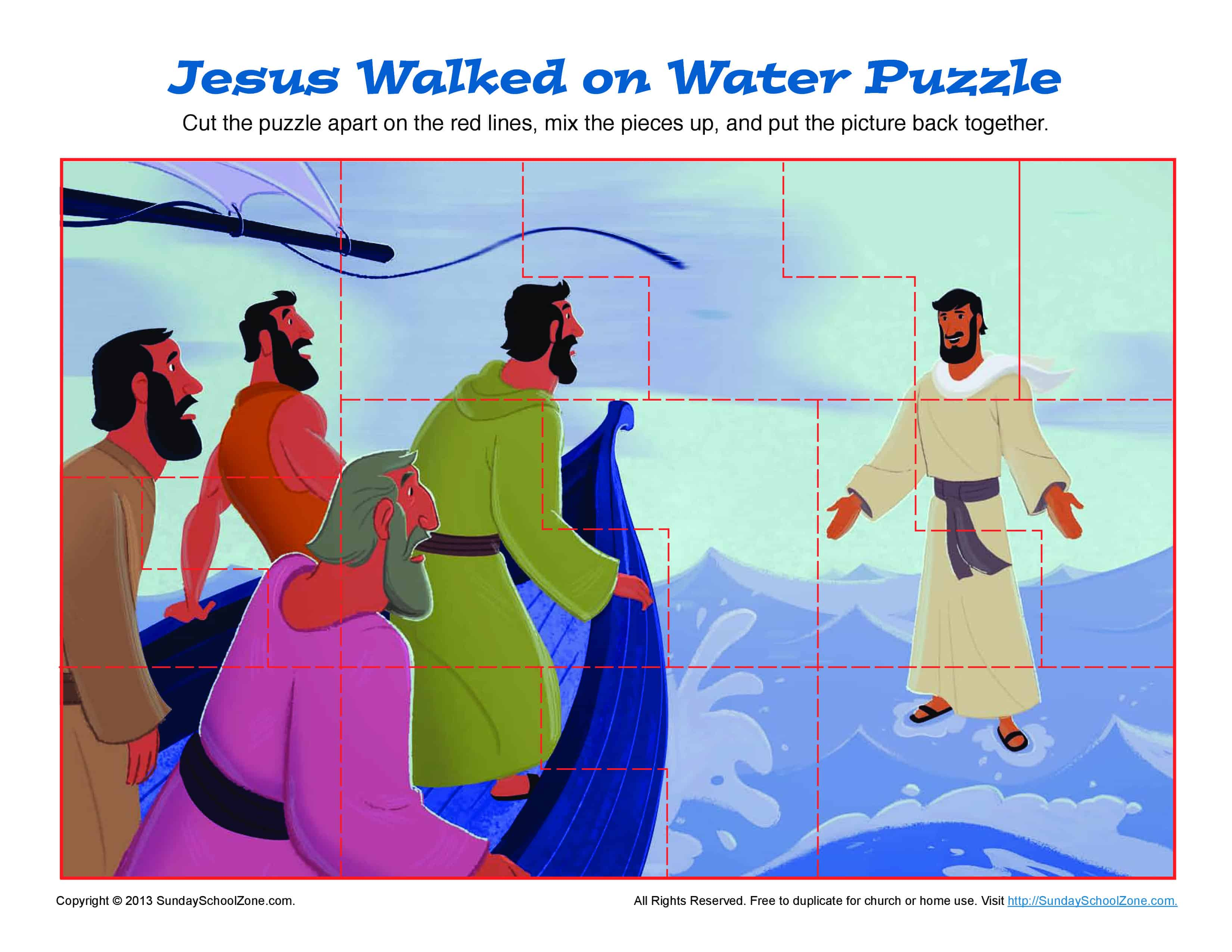Jesus Walks On Water Puzzle Bible Activities For Children