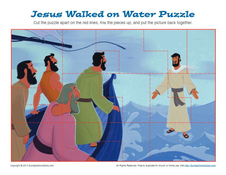 Jesus Walks on Water Puzzle Bible