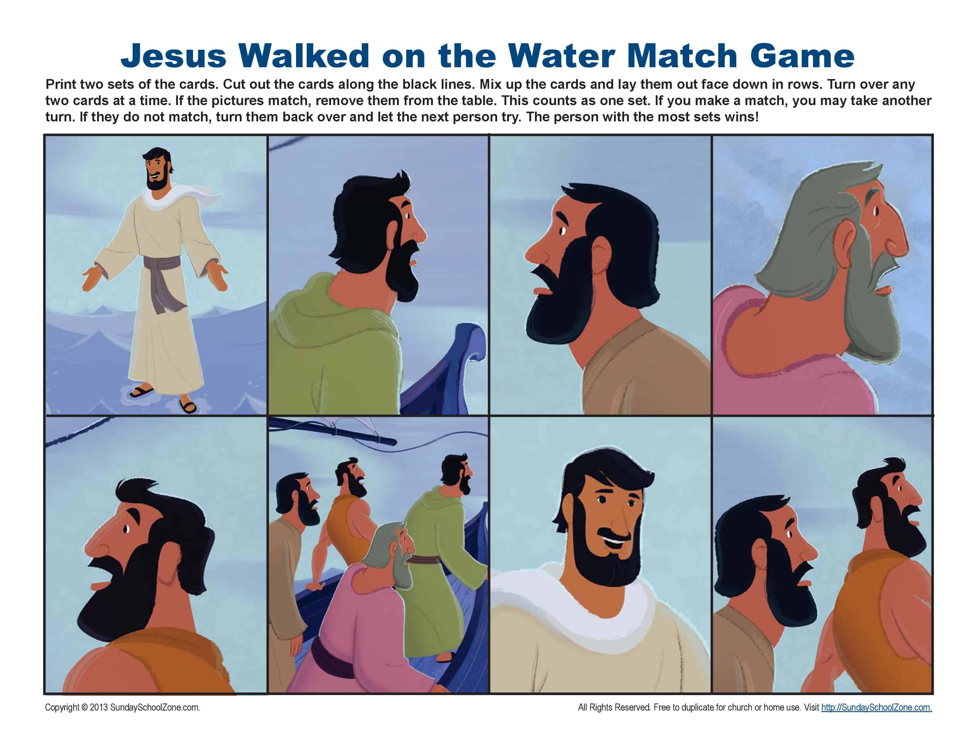 Jesus Walks on Water Match Game Bible Activities for