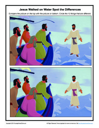 On water spot the differences game bible activities for children