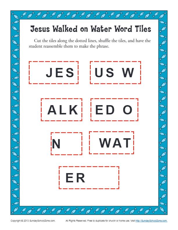Jesus Walks on Water Word Tiles