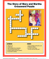 Children's Bible Story Crossword Puzzle - The Story of Mary and Martha
