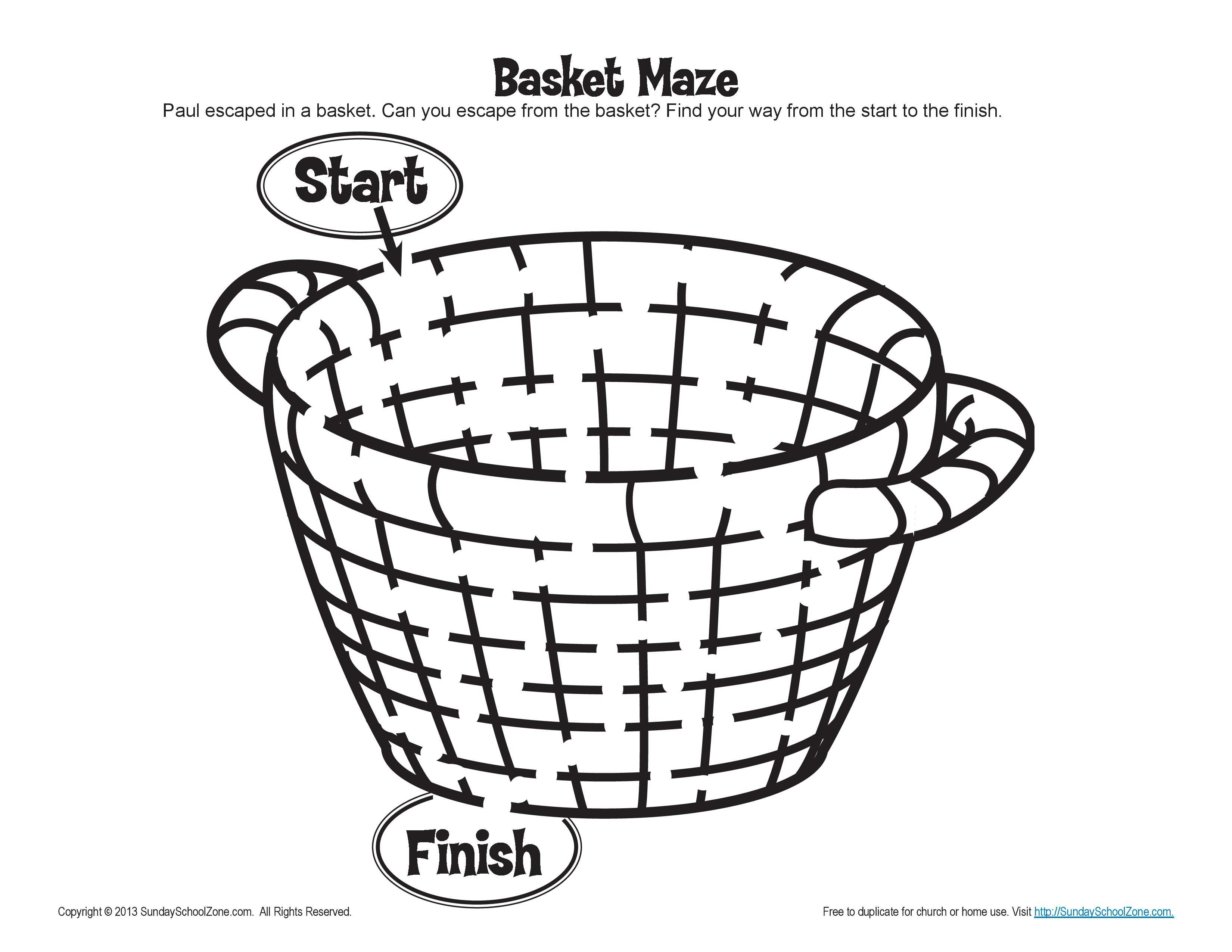 Paul Escaped Damascus in a Basket Maze Bible Activities