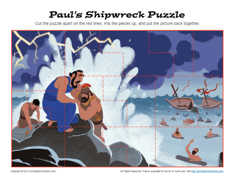 Paul S Shipwreck Puzzle Printable Bible Activities For