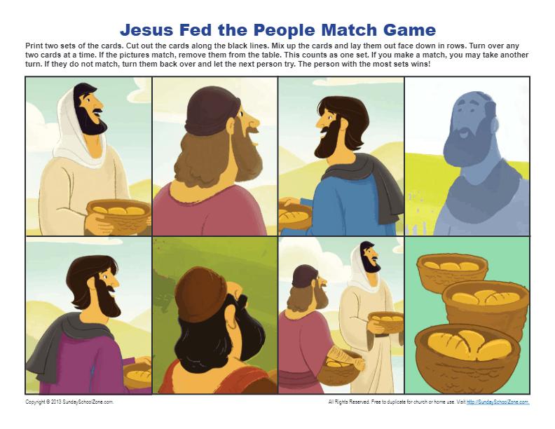 Jesus Feeds 5000 Match Game Printable Bible Activities