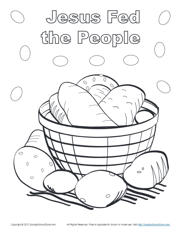 Bible Coloring Page for Kids | Jesus Feeds 5000