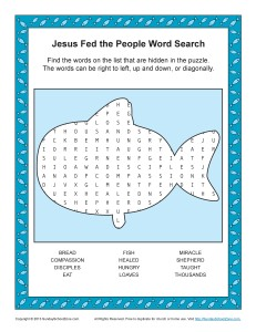 Jesus Fed the People Word Search Bible Activity