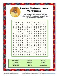 Prophets Told About Jesus Word Search | Bible Activities for Children