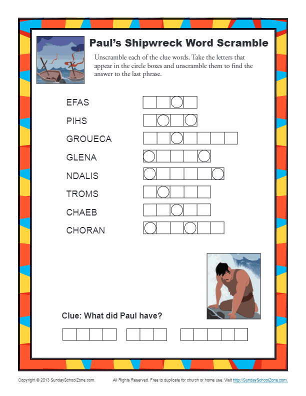 Paul S Shipwreck Word Scramble Bible Activity For Kids