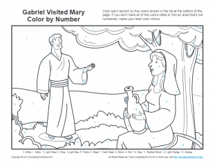 Bible Coloring Pages For Kids Angel Gabriel And Mary