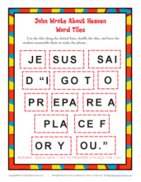 Children's Word Tile Bible Activity - John Wrote About Heaven
