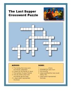 The Last Supper Crossword Puzzle Bible Activities For Kids