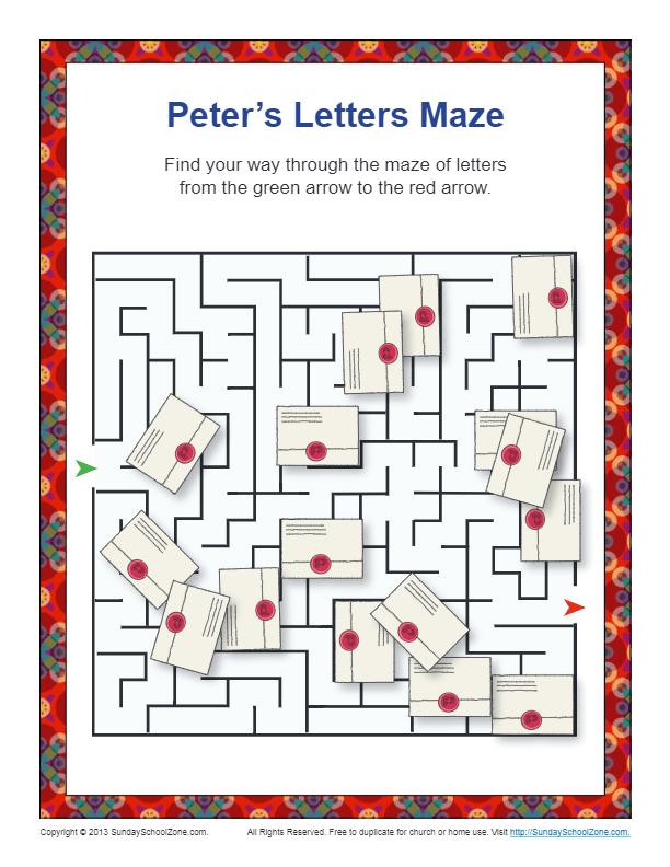 Peter S Letter Maze Printable Bible Activities