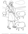 Shepherd Tends His Flock Coloring Page Activity