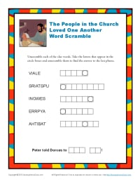 People In The Church Loved One Another Bible Word Scramble