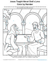 Jesus Taught About God's Love - Color by Number Activity for Kids
