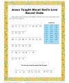 Jesus Taught About God's Love - Children's Secret Code Bible Activity
