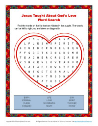 Children's Bible Word Search Activity - Jesus Taught About God's Love