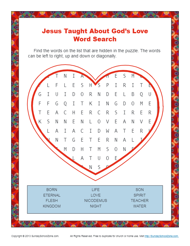 Jesus Taught About God S Love Bible Word Search
