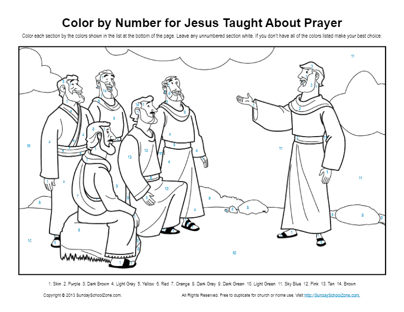 Bible Coloring Pages For Kids Jesus Taught About Prayer