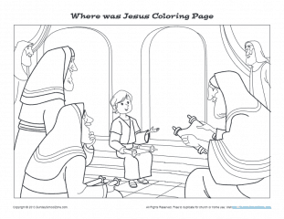 Where was Jesus? | Printable Bible Coloring Pages and Activities