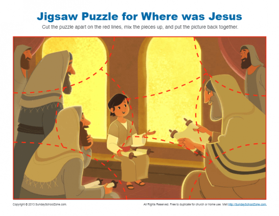 Jesus In The Temple As A Boy Bible Activities On Sunday School Zone