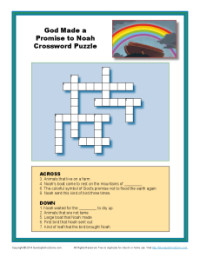 Children's Bible Crossword Puzzle - God Made a Promise to Noah