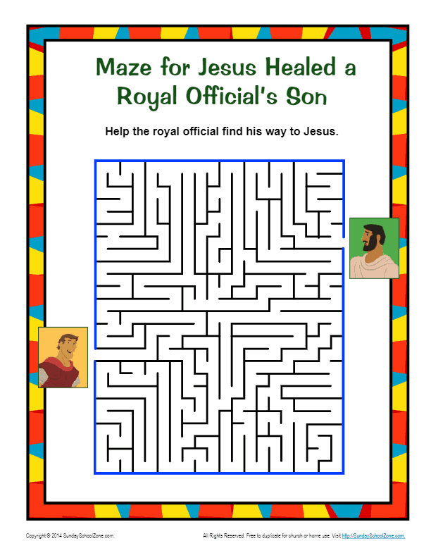 Jesus Healed a Royal Official's Son Maze | Puzzle for ...