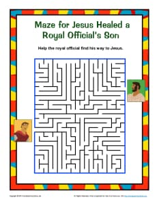 Jesus Healed A Royal Official S Son Maze Puzzle For