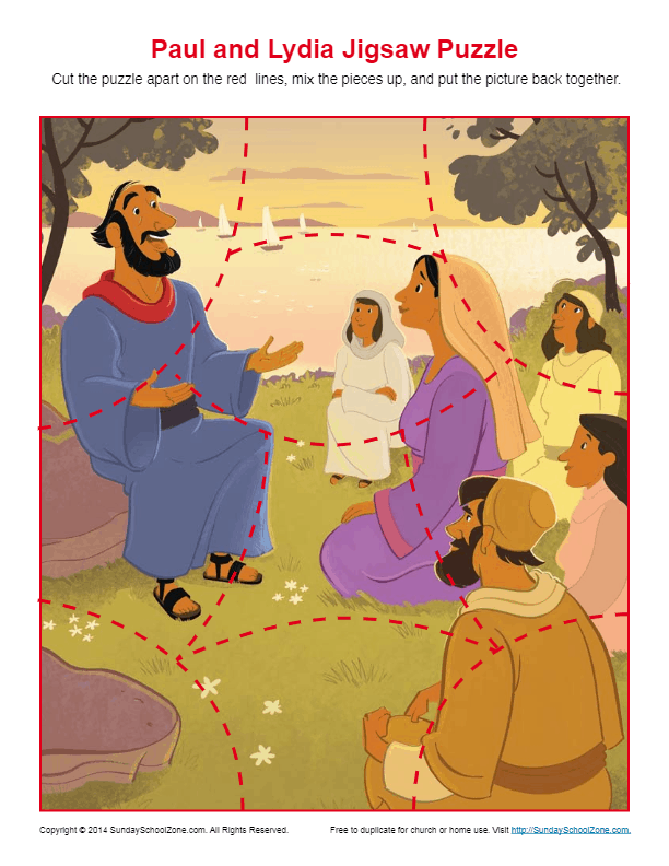 Paul Taught Lydia About Jesus Jigsaw Puzzle Bible Story border=