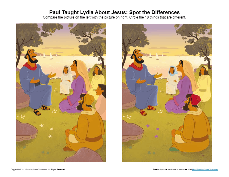 Paul Taught Lydia About Jesus Spot The Differences Bible