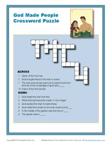 God Made People Crossword Puzzle Bible Activities For