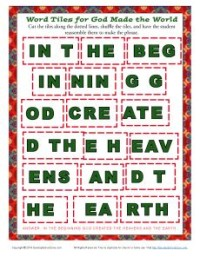 Children's Bible Word Tile Activity - God Made the World