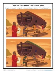 God Guided Noah Spot The Differences Bible Activities