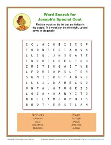 Joseph S Special Coat Word Search Bible Activity Pages