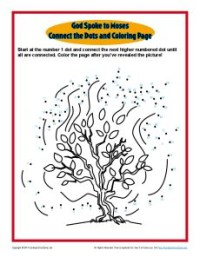God Spoke to Moses Connect the Dots Old Testament Connect the Dots and Coloring Page