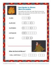 Old Testament Word Scramble Puzzle—The Burning Bush