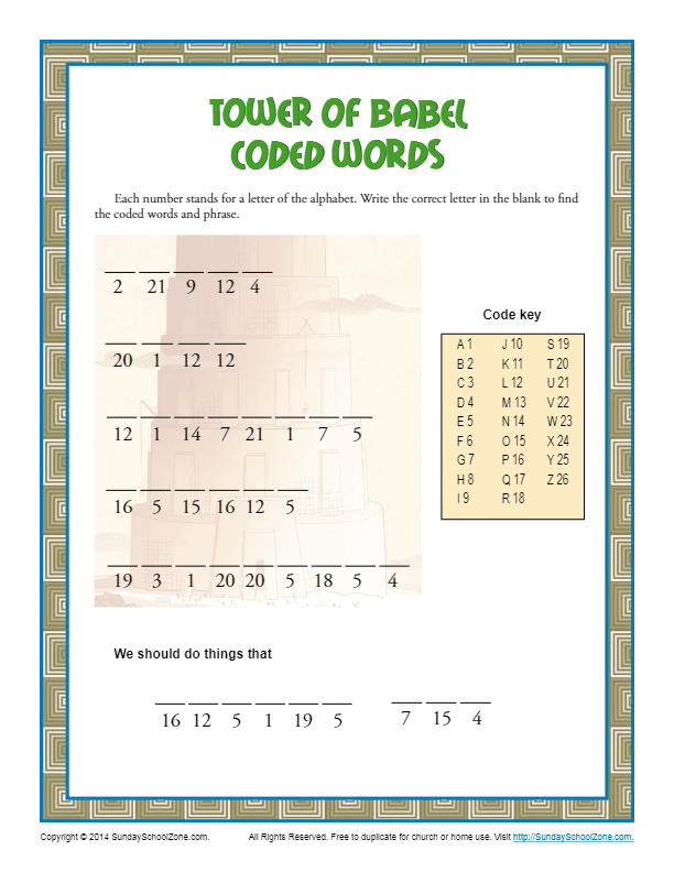 Tower Of Babel Coded Words Bible Puzzles For Children
